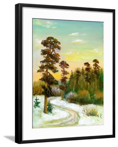 Landscape With Road To Winter Wood-balaikin2009-Framed Art Print