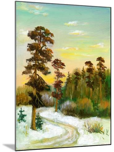 Landscape With Road To Winter Wood-balaikin2009-Mounted Art Print
