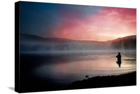 Fishing Early In The Morning-Val Thoermer-Stretched Canvas Print