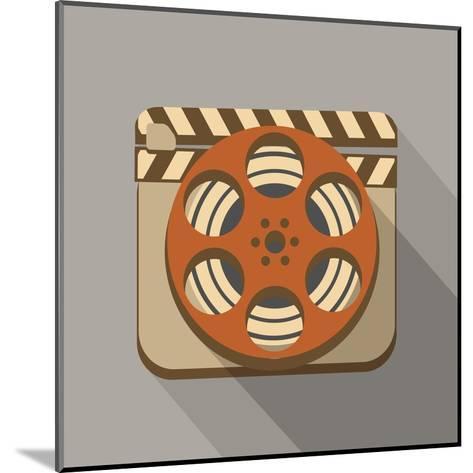 Flat Long Shadow Cinema Icon-YasnaTen-Mounted Art Print
