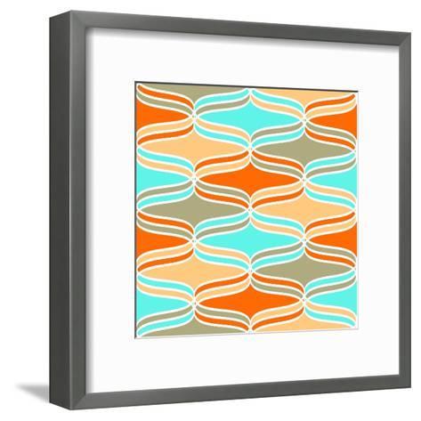 Geometric Wavy Lines Pattern- klivenkova-Framed Art Print