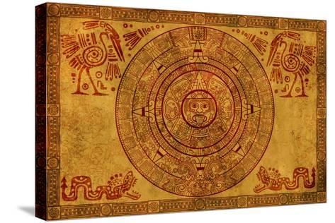Maya Calendar On Ancient Parchment-frenta-Stretched Canvas Print