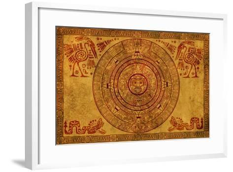 Maya Calendar On Ancient Parchment-frenta-Framed Art Print