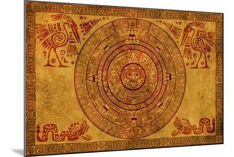 Maya Calendar On Ancient Parchment-frenta-Mounted Art Print