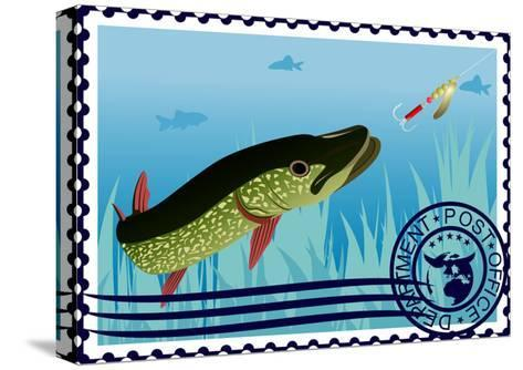 Postage Stamp. The Hunt For Pike- GUARDING-OWO-Stretched Canvas Print