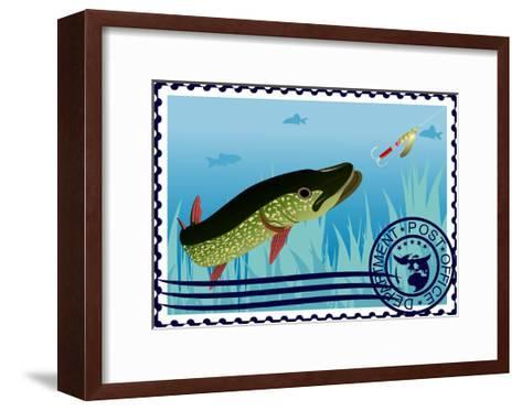Postage Stamp. The Hunt For Pike- GUARDING-OWO-Framed Art Print