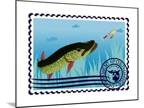 Postage Stamp. The Hunt For Pike- GUARDING-OWO-Mounted Art Print