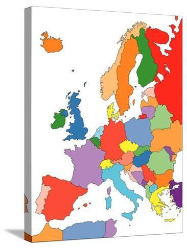 Europe With Editable Countries-Bruce Jones-Stretched Canvas Print