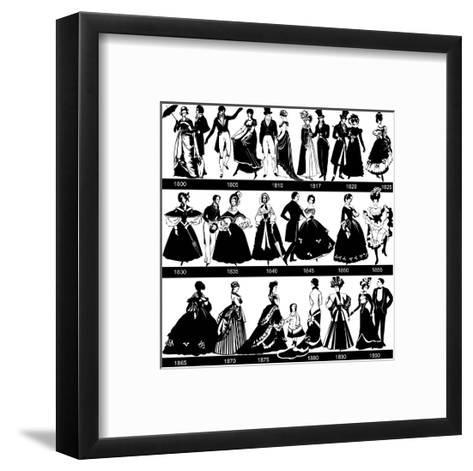 1800-1900 Fashion Silhouettes-Cicero96-Framed Art Print