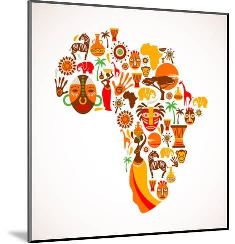 Map Of Africa With Icons-Marish-Mounted Art Print
