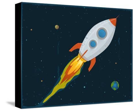 Rocket Ship Blasting Through Space-Benchart-Stretched Canvas Print