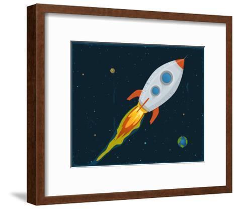 Rocket Ship Blasting Through Space-Benchart-Framed Art Print