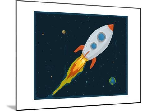 Rocket Ship Blasting Through Space-Benchart-Mounted Art Print