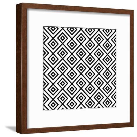 Seamless Black And White Diamonte- viviv-Framed Art Print