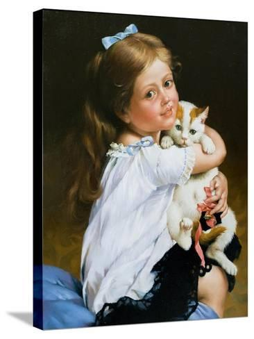 Portrait Of The Girl With A Cat-balaikin2009-Stretched Canvas Print
