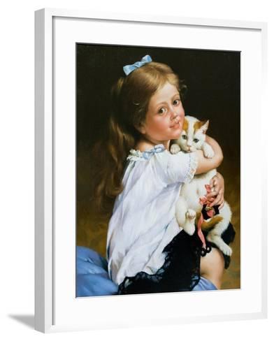 Portrait Of The Girl With A Cat-balaikin2009-Framed Art Print