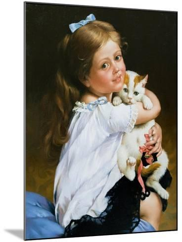 Portrait Of The Girl With A Cat-balaikin2009-Mounted Art Print