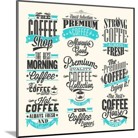 Set Of Vintage Retro Coffee Labels-Melindula-Mounted Art Print