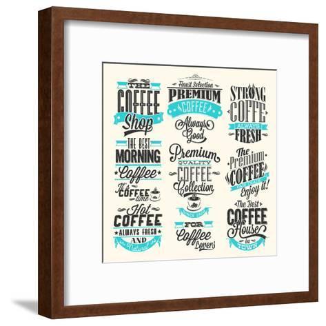Set Of Vintage Retro Coffee Labels-Melindula-Framed Art Print