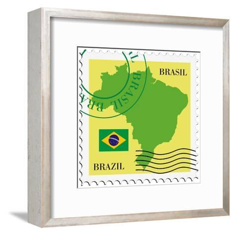 Stamp With Map And Flag Of Brazil-Perysty-Framed Art Print