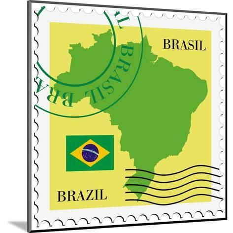 Stamp With Map And Flag Of Brazil-Perysty-Mounted Art Print