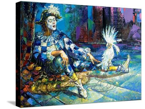 The Harlequin And A White Parrot-balaikin2009-Stretched Canvas Print
