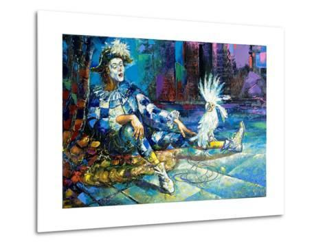 The Harlequin And A White Parrot-balaikin2009-Metal Print