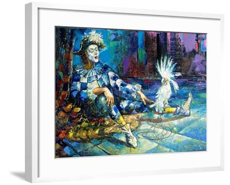 The Harlequin And A White Parrot-balaikin2009-Framed Art Print
