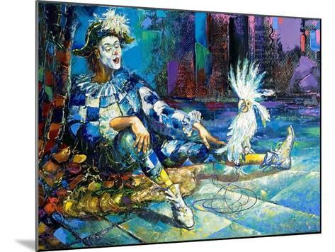 The Harlequin And A White Parrot-balaikin2009-Mounted Art Print