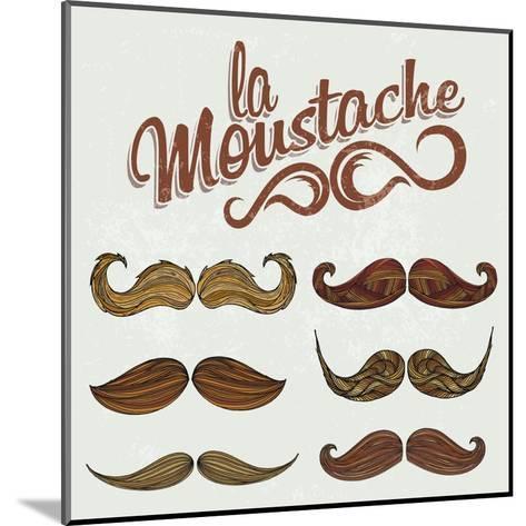Hand Drawn Brown Mustache Set-Melindula-Mounted Art Print