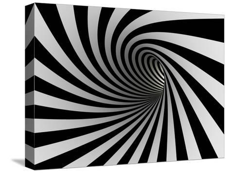 Tunnel Of Black And White Lines-iuyea-Stretched Canvas Print