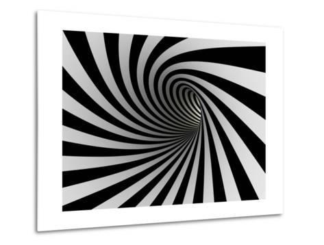 Tunnel Of Black And White Lines-iuyea-Metal Print