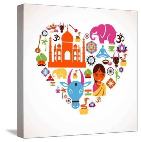 Heart With India Icons-Marish-Stretched Canvas Print