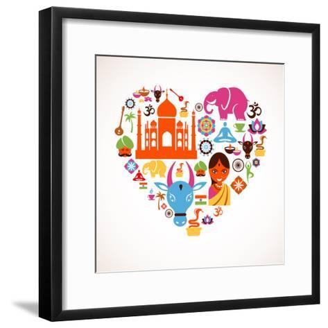 Heart With India Icons-Marish-Framed Art Print