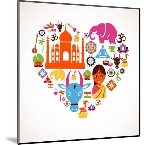 Heart With India Icons-Marish-Mounted Art Print