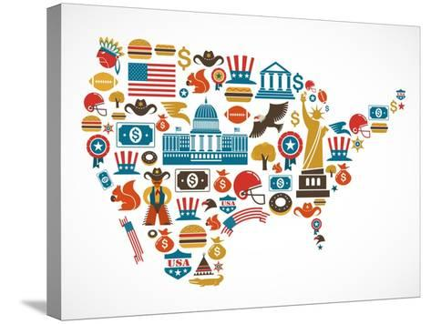 America Map With Many Icons-Marish-Stretched Canvas Print