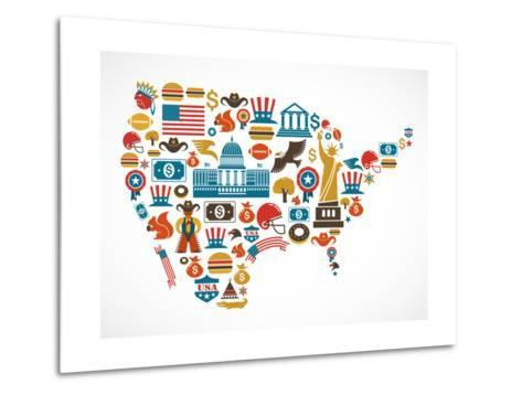 America Map With Many Icons-Marish-Metal Print