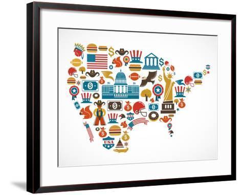 America Map With Many Icons-Marish-Framed Art Print