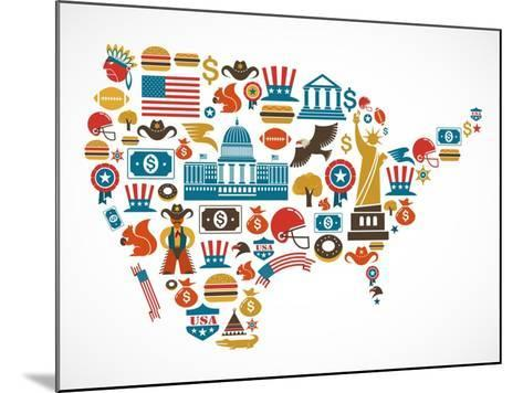 America Map With Many Icons-Marish-Mounted Art Print