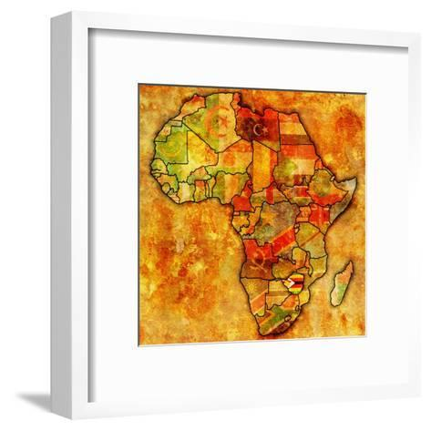 Zimbabwe On Actual Map Of Africa-michal812-Framed Art Print