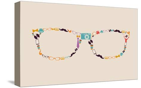 Vintage Hipster Icon Glasses-cienpies-Stretched Canvas Print