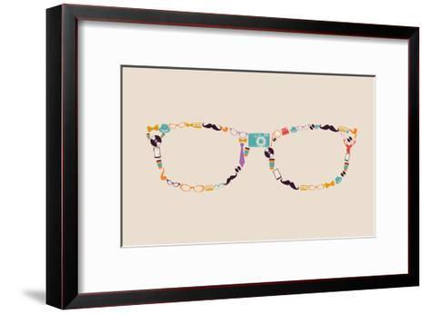 Vintage Hipster Icon Glasses-cienpies-Framed Art Print