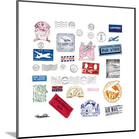 Vintage Airmail Labels And Stamps-cmfotoworks-Mounted Art Print