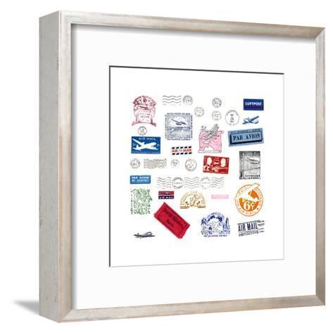 Vintage Airmail Labels And Stamps-cmfotoworks-Framed Art Print