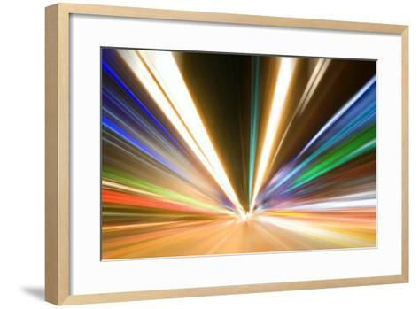 Abstract Colored Light At Night-06photo-Framed Art Print