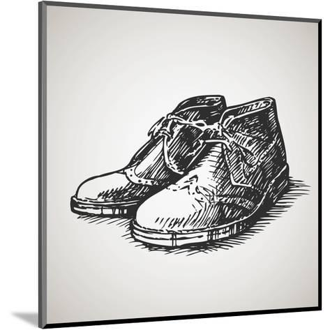 Sketched Vintage Desert Boots-molaruso-Mounted Art Print