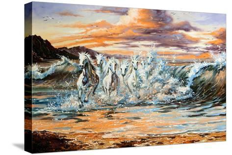 The Horses Running From Waves-balaikin2009-Stretched Canvas Print