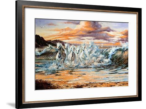 The Horses Running From Waves-balaikin2009-Framed Art Print