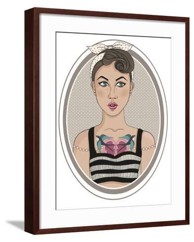 Cute Rockabilly Style Fashion Girl-cherry blossom girl-Framed Art Print
