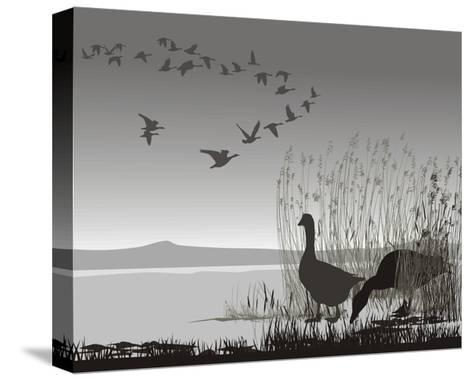 Wild Geese, Delayed Migrating-Gepard-Stretched Canvas Print